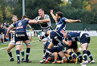 Bedford's Jordan Burns clears with a kick during the Greene King IPA Championship match between Ealing Trailfinders and Bedford Blues at Castle Bar , West Ealing , England  on 29 October 2016. Photo by Carlton Myrie / PRiME Media
