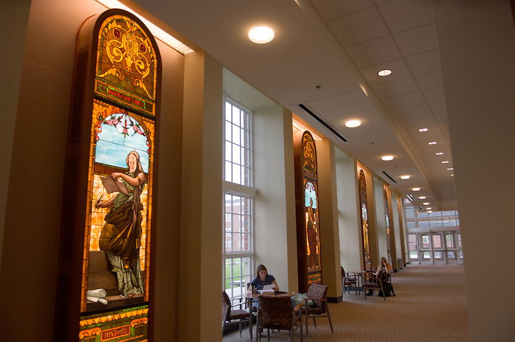 17157Stained Glass Lights in Walter Hall