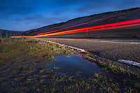 A long exposure view of traffic on the A62 at Carriage House on Marsden Moor, Saddleworth on Monday 29th January 2018.