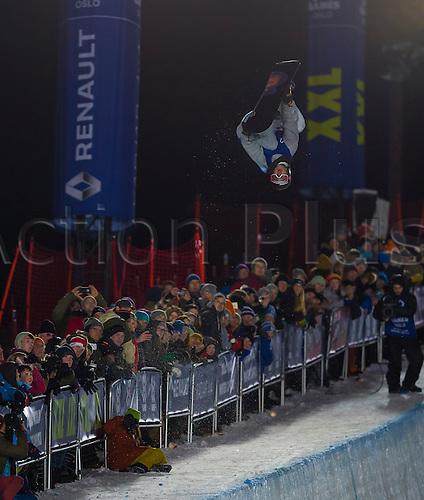 26.02.2016. Wyller Oslo Winter Park, Oslo, Norway. Red Bull X Games. Men's Snowboard SuperPipe Final Pat Burgener of Switzerland goes high during the men's Snowboard SuperPipe Final at the at the Wyller Oslo winter park in Oslo, Norway.