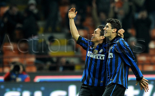 10.12.2011. Milan Italy, The Seria A football match between Inter Milan and Fiorentina. Image shows Esultanza After Il Gol Tue Yuto Nagatomo Inter Goal Celebration Milano