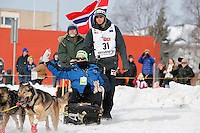Joar Leifseth Ulsom during the Ceremonial Start of the 2016 Iditarod in Anchorage, Alaska.  March 05, 2016