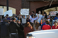 NWA Democrat-Gazette/J.T. WAMPLER Around 300-400 students participate in a march and rally against gun violence at the Washington County Courthouse Wednesday March 14, 2018. More than a thousand Fayetteville High School students also attended a rally at the school in solidarity with Stoneman Douglas High School students.