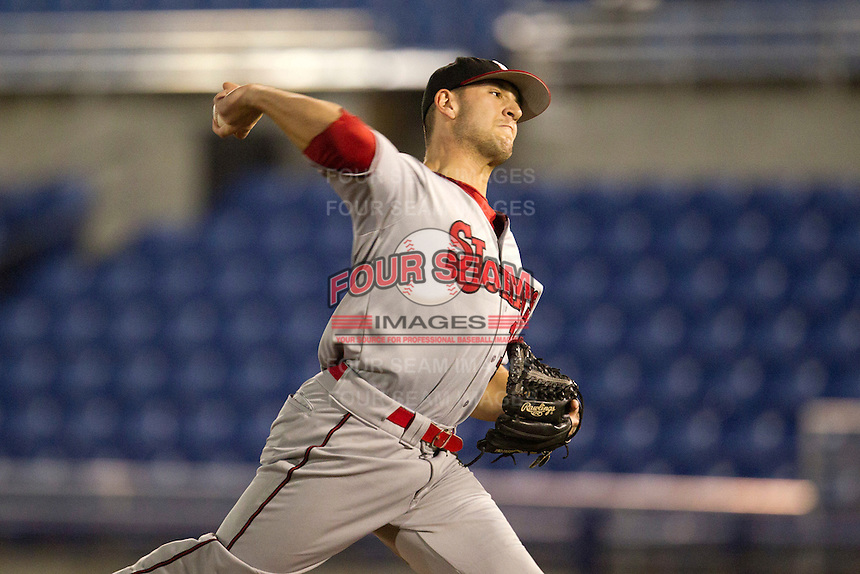 St. John's Red Storm pitcher Matt Carasiti #11 during a game against the Michigan State Spartans at the Big Ten/Big East Challenge at Florida Auto Exchange Stadium on February 17, 2012 in Dunedin, Florida.  (Mike Janes/Four Seam Images)