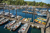 USA, Alaska, Ketchikan, fishing boats ands kayaks moored in the Behm Canal near Clarence Straight, Knudsen Cove along the Tongass Narrows