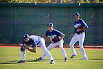 (L-R) Jamey Wright, Kenta Maeda, Jose De Leon (Dodgers),<br /> FEBRUARY 26, 2016 - MLB :<br /> Los Angeles Dodgers spring training baseball camp at Camelback Ranch in Glendale, Arizona, United States. (Photo by Thomas Anderson/AFLO) (JAPANESE NEWSPAPER OUT)