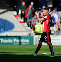 Lincoln City's Joe Morrell applauds the fans at the final whistle<br /> <br /> Photographer Chris Vaughan/CameraSport<br /> <br /> The EFL Sky Bet League One - Lincoln City v Bristol Rovers - Saturday 14th September 2019 - Sincil Bank - Lincoln<br /> <br /> World Copyright © 2019 CameraSport. All rights reserved. 43 Linden Ave. Countesthorpe. Leicester. England. LE8 5PG - Tel: +44 (0) 116 277 4147 - admin@camerasport.com - www.camerasport.com