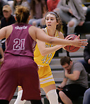 SPEARFISH, SD: NOVEMBER 11:  Keely Bertram #42 of Black Hills State looks past Texas A&M defender Ashley Perez #21 during their game Saturday at the Donald E. Young Center in Spearfish, S.D.    (Photo by Dick Carlson/Inertia)
