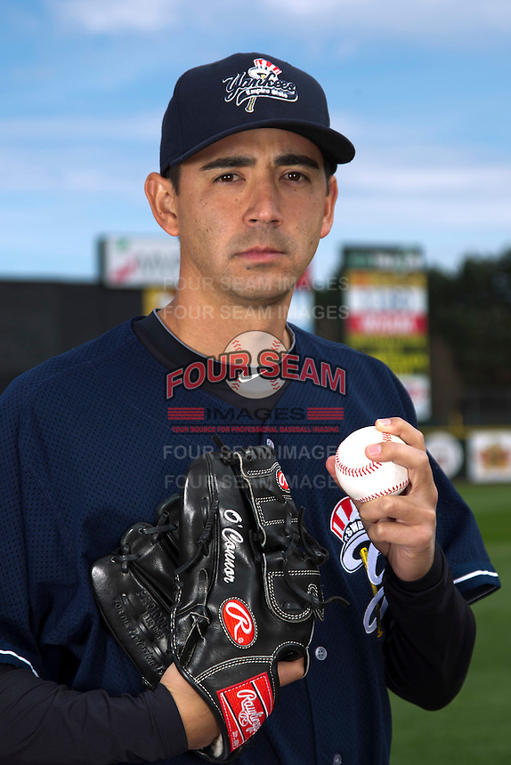 Scranton Wilkes-Barre Yankees pitcher Michael O'Connor poses for a photo during media day at Frontier Field on April 3, 2012 in Rochester, New York.  (Mike Janes/Four Seam Images)