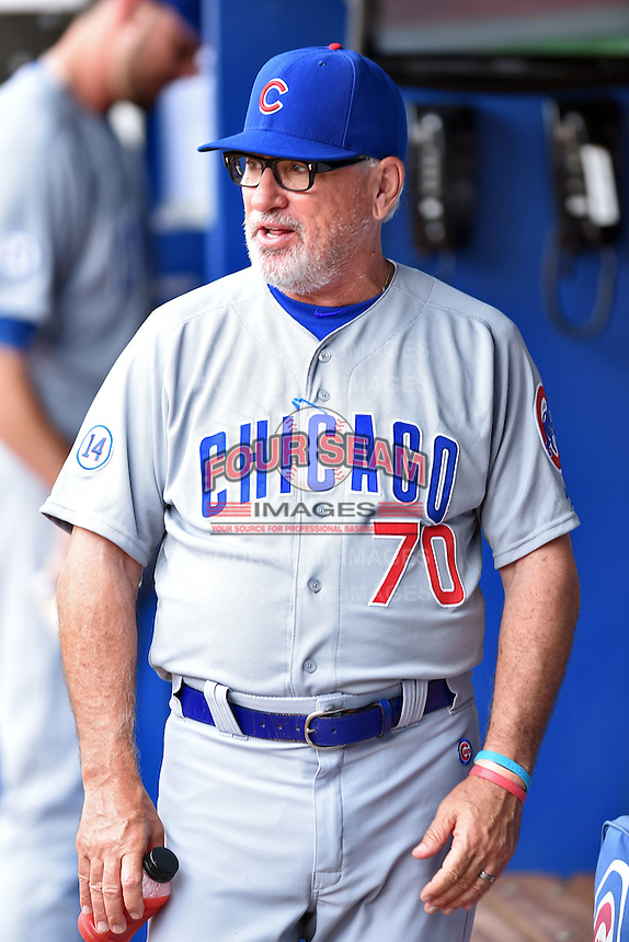 Chicago Cubs manager Joe Maddon (70) before a game against the Atlanta Braves on July 18, 2015 in Atlanta, Georgia. The Cubs defeated the Braves 4-0. (Tony Farlow/Four Seam Images)