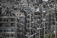 Residential buildings in the center of Aleppo City where Syrian army snipers are positioned.