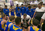 Reed  head coach Keegan Bosier talks to his team during a time out in the class 4A Northern Regional Boys Basketball Championship game at Spanish Springs High School in Sparks, Nev., Saturday, Feb. 22, 2020.