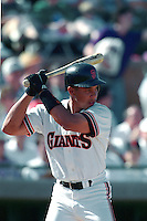SCOTTSDALE, AZ - Darren Lewis of the San Francisco Giants bats during a spring training game at Scottsdale Stadium in Scottsdale, Arizona in 1992. Photo by Brad Mangin