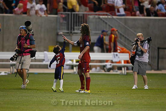 Trent Nelson  |  The Salt Lake Tribune.Kyle Beckerman high-fives a kid. George Frey. Real Salt Lake vs. FC Dallas at Rio Tinto Stadium in Sandy, Utah, Saturday, July 9, 2011. george frey