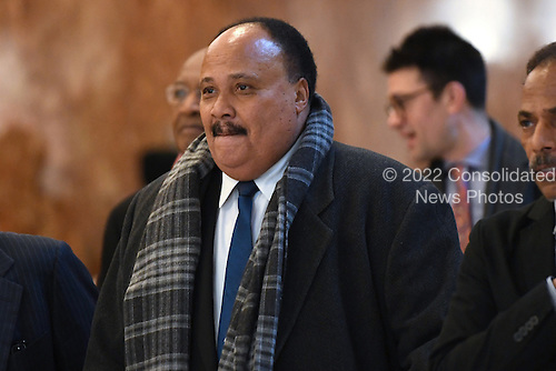 Martin Luther King III (c) is seen arriving in the lobby of the Trump Tower in New York, NY, on January 16, 2017 <br /> Credit: Anthony Behar / Pool via CNP