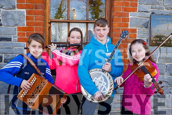 Trina Kennedy (Listowel), Sarah Murphy (Listowel), Daragh Breen (Kilflynn) and Katie Trant (Listowel) attending the 28th Annual Féile Feabhra Ceolann workshop, at the Diarmuid Ó Catháin Cultural Centre, in Lixnaw on Saturday last.