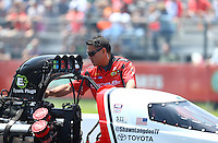 Apr 30, 2016; Baytown, TX, USA; Crew member for NHRA top fuel driver Shawn Langdon during qualifying for the Spring Nationals at Royal Purple Raceway. Mandatory Credit: Mark J. Rebilas-USA TODAY Sports