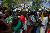 Port Au Prince, Haiti, Jan 26 2010.A WFP food distribution near the 'Champ de Mars'; security and crowd control is the responsability of a Brazilian blue helmet UN unit..