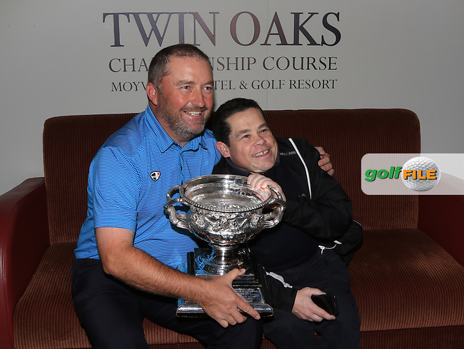 Damien McGrane (IRL) with Paul Kelly after winning the 106th Irish PGA Championship at Moyvalley Hotel &amp; Golf Resort, Moyvalley, Co. Kildare.  25/09/2016.<br /> Picture: Golffile | Thos Caffrey<br /> <br /> <br /> All photo usage must carry mandatory copyright credit     (&copy; Golffile | Thos Caffrey)