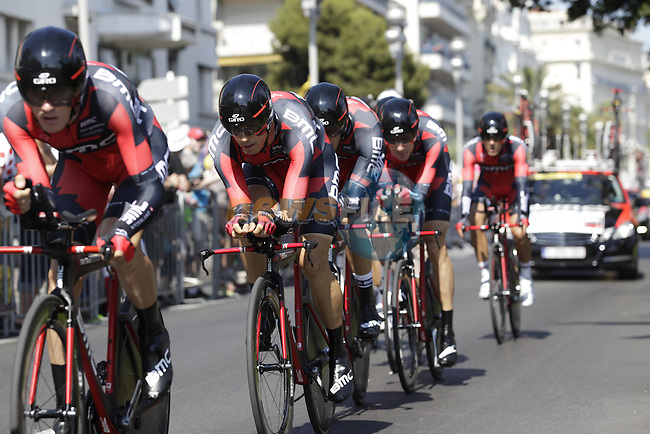 BMC Racing Team in action during Stage 4 of the 100th Edition of the Tour de France 2013 a 25k Team Time Trial around Nice. 2nd July 2013.<br /> (Photo: Eoin Clarke/ www.newsfile.ie)