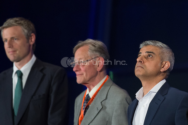 Sadiq Khan, the new London Mayor, reacts at the results announcement in London's City Hall, May 06, 2016. L-R  Zac Goldsmith Conservative, new mayor Sadiq Khan and Lee Harris Canabis is Safer Than Alcohol.<br /> CAP/CAM<br /> &copy;CAM/Capital Pictures /MediaPunch ***NORTH AMERICAN AND SOUTH AMERICAN SALES ONLY***
