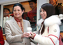 January 12, 2017, Tokyo, Japan - McDonald's Japan president Sarah Casanova (L) attends a promotional event for McDonald's new coffee and they distribute free samples to customers in Tokyo on Thursday, January 12, 2017. The hamburger restaurant chain will launch the new taste coffee at their restaurants from January 16.   (Photo by Yoshio Tsunoda/AFLO) LWX -ytd-