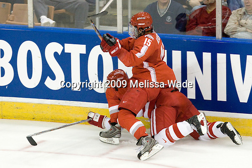 John Albert (Ohio State - 15), Chris Higgins (BU - 10) - The Boston University Terriers defeated the Ohio State University Buckeyes 8-3 in the 2009 Northeast Regional Semifinal on Saturday, March 28, 2009, at the Verizon Wireless Center in Manchester, New Hampshire.