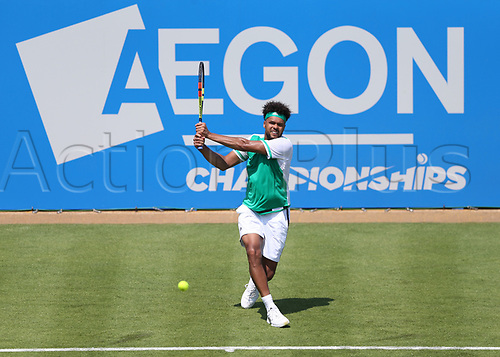 June 19th 2017, Queens Club, West Kensington, London; Aegon Tennis Championships, Day 1; Jo-Wilfried Tsonga of France plays the return during his game with Adrian Mannarino