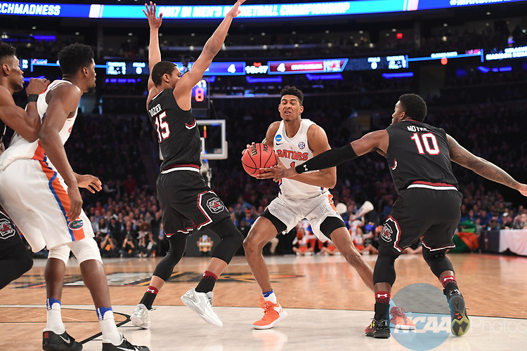NEW YORK, NY - MARCH 26: Devin Robinson #1 of the Florida Gators during the 2017 NCAA Men's Basketball Tournament held at Madison Square Garden on March 26, 2017 in New York City. (Photo by Justin Tafoya/NCAA Photos via Getty Images)