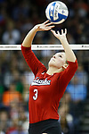KANSAS CITY, KS - DECEMBER 14: Kelly Hunter #3 of the University of Nebraska sets the ball against Penn State University during the Division I Women's Volleyball Semifinals held at Sprint Center on December 14, 2017 in Kansas City, Missouri. (Photo by Tim Nwachukwu/NCAA Photos via Getty Images)