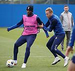 18.09.2019 Rangers training: Sheyi Ojo and Scott Arfield