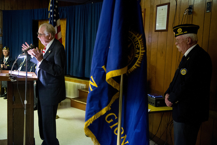 UNITED STATES - MAY 28: Rep. Roscoe Bartlett, R-Md., speaks at the Memorial Day service at the Barton, Md., American Legion post on Monday, May 28, 2012. (Photo By Bill Clark/CQ Roll Call)