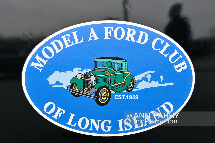 March 31, 2013 - Garden City, New York, U.S. - This sticker 'Model A Ford Club of Long Island' is on an antique Ford at the 58th Annual Easter Sunday Vintage Car Parade and Show sponsored by the Garden City Chamber of Commerce. Hundreds of authentic old motorcars, 1898-1988, including antiques, classic, and special interest participated in the parade.
