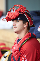 Salem Red Sox catcher Nick Sciortino (26) in the dugout during the game against the Winston-Salem Dash at BB&T Ballpark on April 22, 2018 in Winston-Salem, North Carolina.  The Red Sox defeated the Dash 6-4 in 10 innings.  (Brian Westerholt/Four Seam Images)