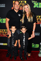 "CENTURY CITY, CA, USA - SEPTEMBER 27: Tito Ortiz, Amber Nichole Miller, Jesse Jameson Ortiz, Journey Jett Ortiz arrive at the Los Angeles Screening Of Disney XD's ""Star Wars Rebels: Spark Of Rebellion"" held at the AMC Century City 15 Theatre on September 27, 2014 in Century City, California, United States. (Photo by Celebrity Monitor)"