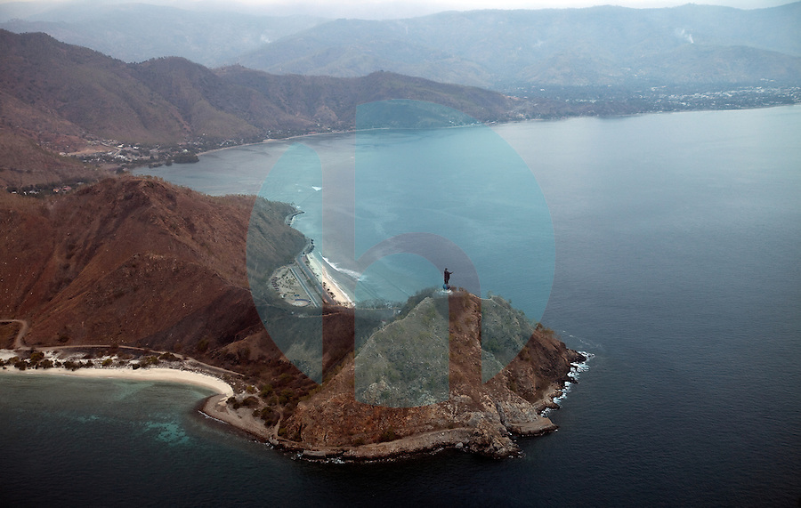 Aerial views of Timor's most recognizable landmark, the Cristo Rei statue, which is perched on a hilltop, near the capital city of Dili, Timor-Leste on Monday, Oct. 3rd, 2011.  Photographer: Daniel J. Groshong/The Hummingfish Foundation