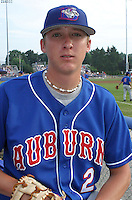 July 4, 2003:  Pitcher Jamie Vermilyea of the Auburn Doubledays, Class-A affiliate of the Toronto Blue Jays, during a game at Dwyer Stadium in Batavia, NY.  Photo by:  Mike Janes/Four Seam Images