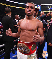 DALLAS, TX - MARCH 16: Errol Spence Jr. after defeating Mikey Garcia for the IBF  World Welterweight Championship at the Fox Sports PBC Pay-Per-View fight night at AT&T Stadium on March 16, 2019 in Dallas, Texas. (Photo by Frank Micelotta/Fox Sports/PictureGroup)