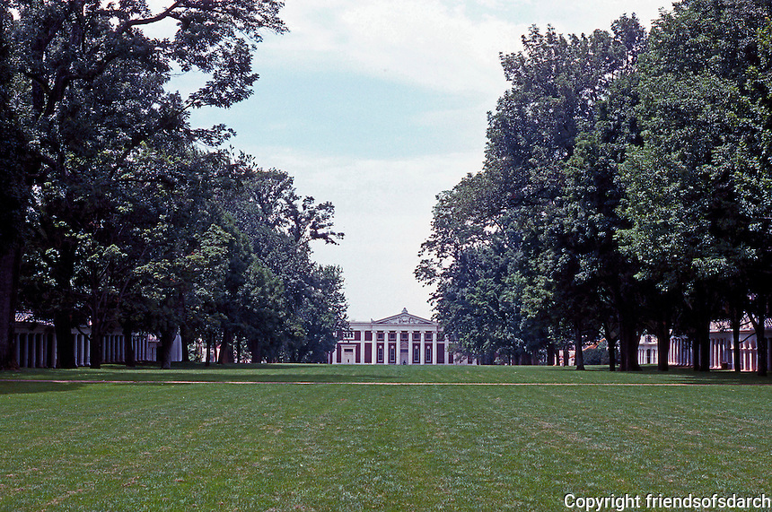 Thomas Jefferson: University of Virginia--lawn from Rotunda steps, looking south. (Once open vista of mountains closed by McKim, Meno & White, 1896-1898.  Photo '85.