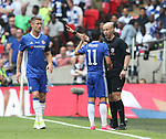 Pedro of Chelsea complains to referee Anthony Taylor during the Emirates FA Cup Final match at Wembley Stadium, London. Picture date: May 27th, 2017.Picture credit should read: David Klein/Sportimage