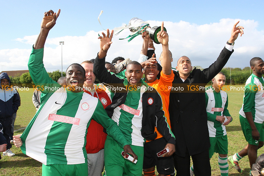 Bethnal Green United FC celebrate winning the ESL Cup Final - Bethnal Green United vs Burnham Ramblers - Essex Senior League Cup Final at Bowers & Pitsea FC - 03/05/10 - MANDATORY CREDIT: Gavin Ellis/TGSPHOTO - Self billing applies where appropriate - Tel: 0845 094 6026