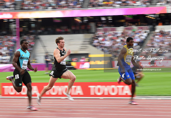 (l to r) Warren Fraser (BAH), Joeseph Millar (NZL) and Ramon Gittens (BAR) in the mens 100m heats. IAAF World athletics championships. London Olympic stadium. Queen Elizabeth Olympic park. Stratford. London. UK. 04/08/2017. ~ MANDATORY CREDIT Garry Bowden/SIPPA - NO UNAUTHORISED USE - +44 7837 394578