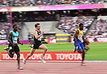 (l to r) Warren Fraser (BAH), Joeseph Millar (NZL) and Ramon Gittens (BAR) in the mens 100m heats. IAAF World athletics championships. London Olympic stadium. Queen Elizabeth Olympic park. Stratford. London. UK. 04/08/2017. ~ MANDATORY CREDIT Garry Bowden/SIPPA - NO UNAUTHORISED USE - +44 7837 394578