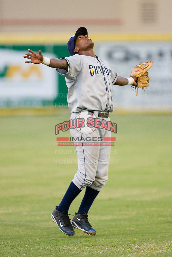 Shortstop Tim Beckham #22 of the Charlotte Stone Crabs calls for a pop fly in shallow left field against the Jupiter Hammerheads at Roger Dean Stadium June 15, 2010, in Jupiter, Florida.  Photo by Brian Westerholt /  Seam Images