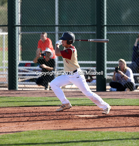 Tommy Biggs takes part in the 2018 Under Armour Pre-Season All-America Tournament at the Chicago Cubs training complex on January 13-14, 2018 in Mesa, Arizona (Bill Mitchell)