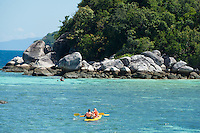 Family with two kids kayaking in Andaman sea, Koh Lipe, Thailand