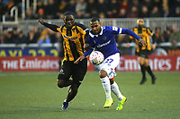 Olu Durojaiye of Maidstone United and Oldham's Gevaro Nepomuceno challenge for the ball during Maidstone United vs Oldham Athletic, Emirates FA Cup Football at the Gallagher Stadium on 1st December 2018