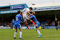Oliver Hawkins of Portsmouth heads the ball towards the Gillingham goal during Gillingham vs Portsmouth, Sky Bet EFL League 1 Football at the MEMS Priestfield Stadium on 8th October 2017