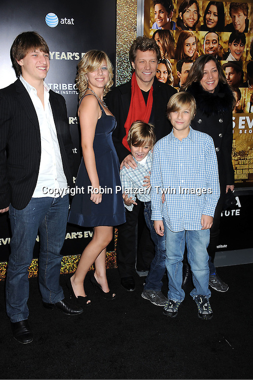 "Jon Bon Jovi and family attends The Special Screening of "" New Year's Eve"" on ..December 7, 2011 at The Ziegfeld Theatre in New York City. The evening is sponsored by AT & T and is benefitting The Tribeca Film Institute ."