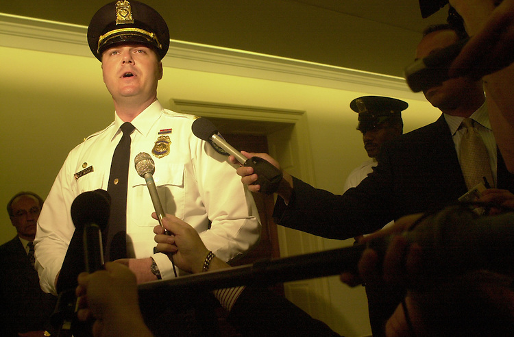 Nichols.2(TW)051700--Lt. Dan Nichols takes questions from reporters after the incident.